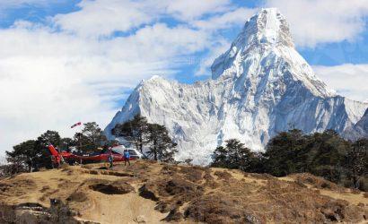Helicopter Landing at Everest Base Camp