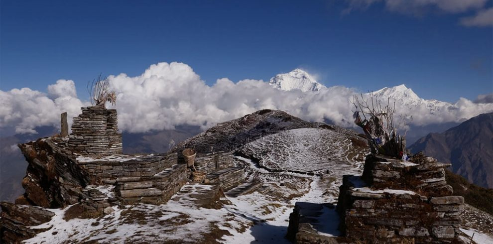 Khopra Ridge Community Trek from Pokhara is an exhilarating trek in the Annapurna region of Nepal. Khopra trek is a newly introduced trek that offers unique trekking experience in Nepal. Traverse the less-crowded trail to Khopra Danda to discover the majestic mountains like Dhaulagiri, Nilgiri, Machhapuchhre, Annapurna I, and surrounding peaks. En route to Khopra Danda, walk through verdant rhododendron and pine forests, high pastures, alpine meadows, and quaint villages. Additionally, Khopra Danda Trek lets hike to Khayer Lake, a sacred lake to Hindus. Your Khopra danda trek itinerary lets you explore Khopra ridge in just 7 days. This marvelous adventure starts and ends in the City of Lakes, Pokhara. You will start the trek from Kimche heading to Tadapani. Follow the Khopra Danda trek map and stop at Tadapani, Dobato, Khopra Danda, Swanta Village, Ghorepani, and Hile. On the 4th day, you will hike to Khayer Lake. Khopra trek from Pokhara is an easy and moderate trek, suitable for all age groups. The highest elevation of this trek is Khayer Lake at 4500m. Every day demands a minimum of 4-5 hours of trek. On the 4th day, en route to Khayer Lake from Khopra Danda, you will have to trek for 9-10 hours. If you are looking for some other treks in Annapurna region, we recommend Annapurna Base Camp Trek and Mardi Himal Trek.