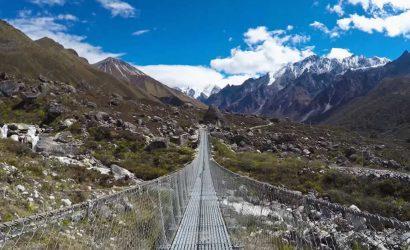 A suspension bridge en-route to Langtang trek