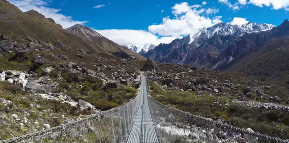 A suspension bridge en-route to Langtang trek
